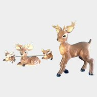 Norcrest Chain Deer Figurines Family Mama Chained to Fawns Deer With Father Made in Japan, Vintage Ceramic Animals