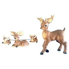 Norcrest Deer Family Figurines Mama Chained to Fawns Chain Deer With Father Made in Japan, Ceramic Animals