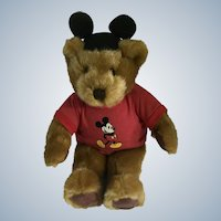 Teddy Bear Micky Mouse Stuffed Plush T-Shirt Bear with Ears Hat Disney Store Exclusive New 17-1/2""