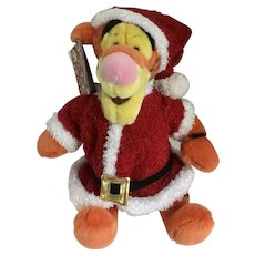 Tigger Santa Stuffed Plush Christmas Holiday Disney Store Exclusive New 12""