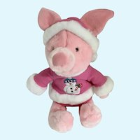 """Piglet Snowman Stuffed Plush Christmas Holiday Disney Store Exclusive New 11"""""""