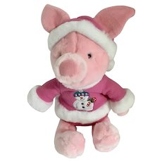 Piglet Snowman Stuffed Plush Christmas Holiday Disney Store Exclusive New 11""