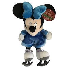 Minnie Mouse Stuffed Plush Blue Twice Upon a Christmas Minnie on Ice Skates Disney Store Exclusive 2005 New 15-1/2""