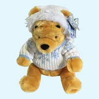 "Winnie the Pooh Stuffed Plush Snowflake Sweater Christmas Disney Store Exclusive 15"""