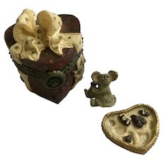 Trinket Box Valentino's Candy Box & BonBon McNibble Boyds Bear and Friends Treasure Uncle Bean's Treasure Boxes - #82008 Valentines day 2000 1st Edition Retired