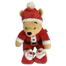 "Christmas Winnie the Pooh Stuffed Plush Santa Pooh Sleeper Holiday Disney Store Exclusive New 11"""