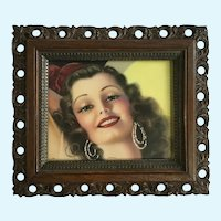 Beautiful 1940's Lady Print in Old Wooden Frame
