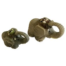 Elephant Figurines Artesania Rinconada Uruguay Earthenware Animals