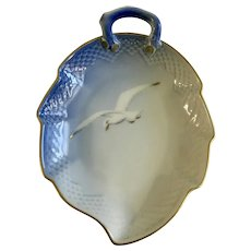 """Seagull 7"""" Leaf Dish B&G Bing Grondahl Denmark #198 Nut or Candy"""