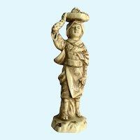 Japanese Woman with Flower Basket on Head Figurine Statuette Japan