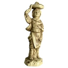 Japanese Woman with Flower Basket on Head Figurine Statuette Japan