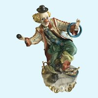 Capodimonte Clown Signed Walter Scapinello Sculpture Porcelain Figurine Italy Rare Clown Giocoliere