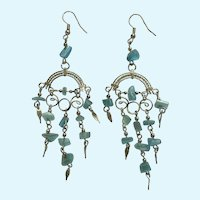 Aquamarine Blue Fishhook Earrings with Silver-Tone Filigree