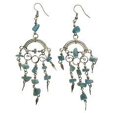 Aquamarine Blue Fishhook Earrings with Silver-Tone Filigree