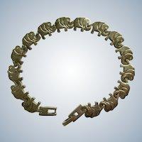 Bracelet Elephant Train Link Sterling Silver 925 Trunk Up