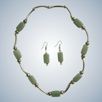 Matching Necklace and Earrings Jadeite Jade and Silver-Tone Set