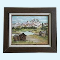 C Wildenstein, Cabins in a Mountain Valley Oil Painting Signed by Artist