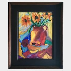 Floral Still Life Oil Painting Signed by Artist Annelle
