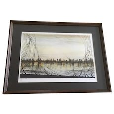 Cityscape Across Water Color Stone Lithograph Limited Edition Signed Linsey