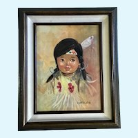 Little Indian Girl Oil Painting Native American Signed