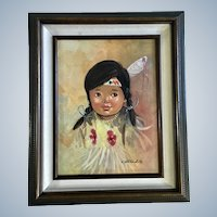 Little Indian Girl Oil Painting Native American Signed By Artist Charles