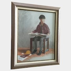Edmond DeLavy (1916-1989) Boy Reading Oil Pastel Painting Signed By Listed New Mexico Artist