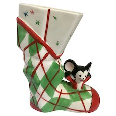 Mid-Century Relpo Christmas Mouse in Boot Reliable Glassware & Pottery 1956 Anthropomorphic Rodent Japan Figurine A310A