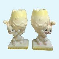 Mid-Century Napco Bunny Rabbit Easter Egg Candlestick Holders Napcoware Figurines