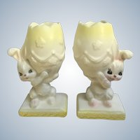 Mid-Century Napco Bunny Rabbit Easter Egg Candlestick Holders Napcoware Japan Figurines  #C-6345