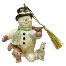 Lenox 2009 Snowman Christmas Ornament Snowy Friends Animals 24K Accents Figurine Retired