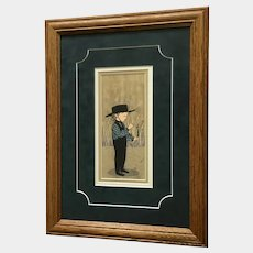 P. Buckley Moss Love You Amish Boy With Flowers Limited Edition Print Signed by Artist