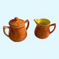 Mid-Century Lava Glaze Creamer and Sugar Pottery Garfs Ceramics