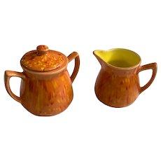 Mid-Century Lava Glaze Creamer and Sugar Orange and Yellow Pottery Garfs Ceramics Great Falls Montana