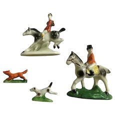 Fox Hunt with Horseback Riders and Dog Chasing Fox Porcelain Figurines Germany Japan