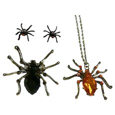 Halloween Spider Earrings, Ring and Pendant Necklace