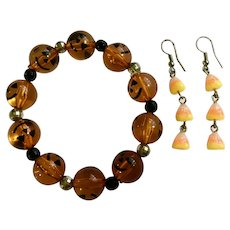 Halloween Jack-o-lantern Bracelet and Candy Corn Earrings for Pierced Ears