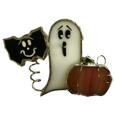 Halloween Spooky Characters Brooch Pin Ghost & Bat Stained Art Glass