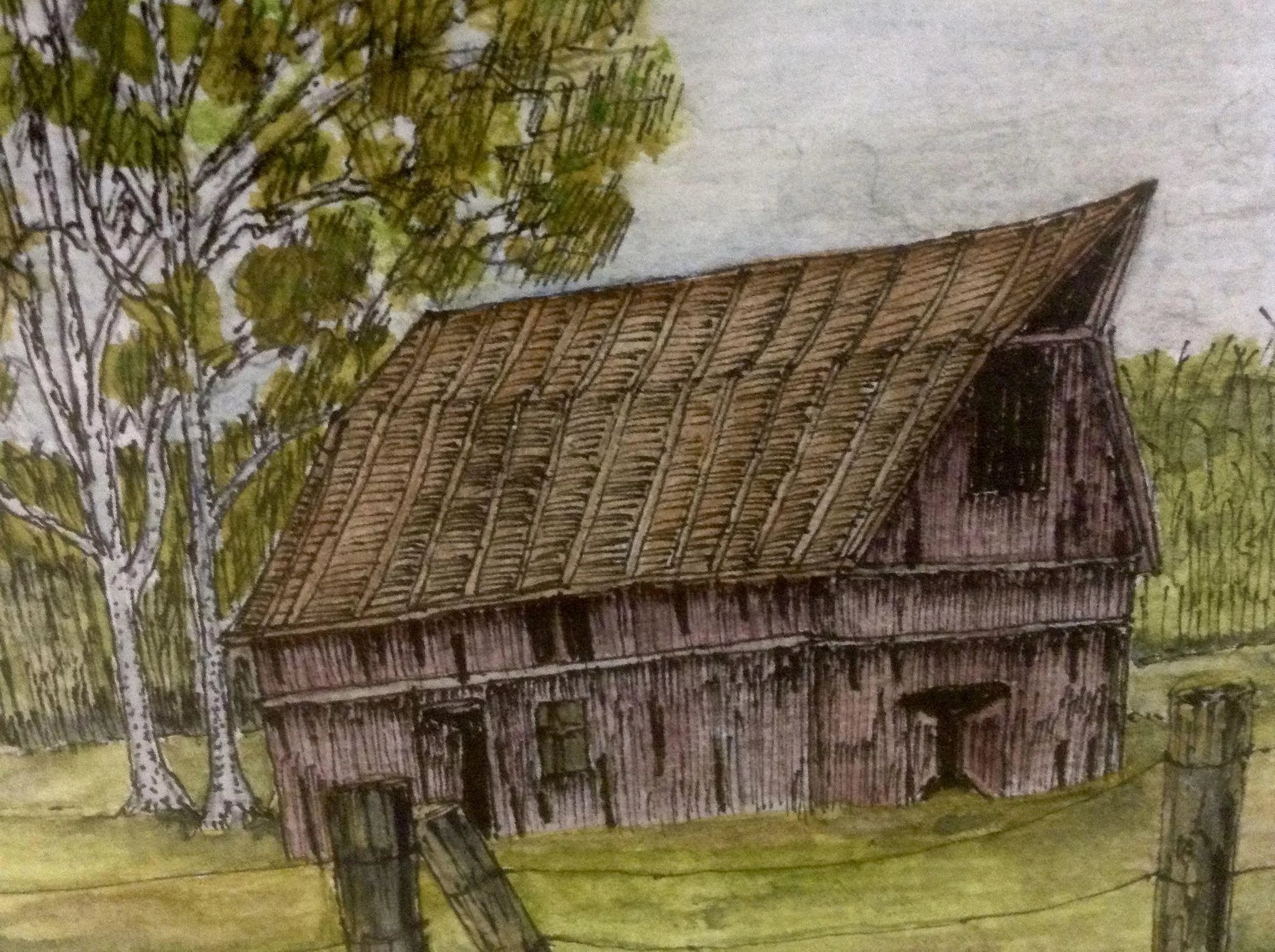 M Romans Watercolor Painting Old Red Barn With Hay Loft