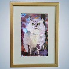 White Kitty Cat with Green Eyes Watercolor Painting Works on Paper Art Picture