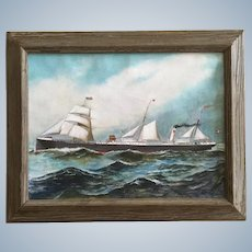 Old Steamer Ship with Sails Dutch with Denmark Flag Oil Painting Monogrammed by Artist GB
