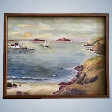 Raymond Hillier, Newfoundland Bay Nautical Oil Painting Signed by Artist