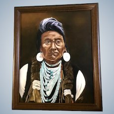 Norma Jean Pittullo, Chief Joseph American Indian Portrait Oil Painting Signed by Artist