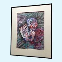 Jan Wiemers Mardi Gras Face Mask Watercolor Painting Signed by Nebraska Artist