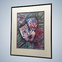 Jan Wiemers Mardi Gras Face Mask Faces Pen and Ink Drawing With Watercolor Painting Signed by Nebraska Artist
