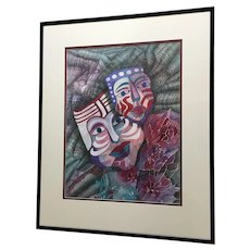 Jan Wiemers Mardi Gras Face Mask Watercolor Painting Signed by Nebraska Artist