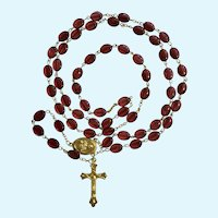 Religious Rosary Beaded Necklace with Gold-Tone Crucifix and Saint Therese
