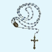 Religious Rosary Beaded Necklace with Silver-Tone Crucifix and Saint Mary