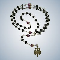 Religious Rosary Beaded Necklace with Silver-Tone Crucifix Jesus Mary Joseph