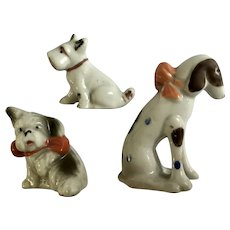 Early 20th Century Dog Figurines Japan Group of 3