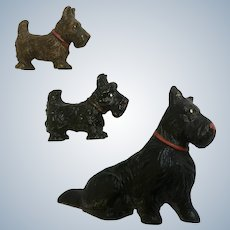 Scottie Dogs Lineol Elastolin Figurines Putz Germany Vintage Composition Scotch Terriers 1920's-1940's